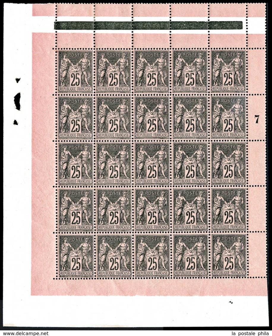 ** N°97, 25c Noir Sur Rose En Panneau Complet De 25 Exemplaires, Centrage Parfait, Fraîcheur Postale, SUPERBE (certifica - 1876-1878 Sage (Type I)