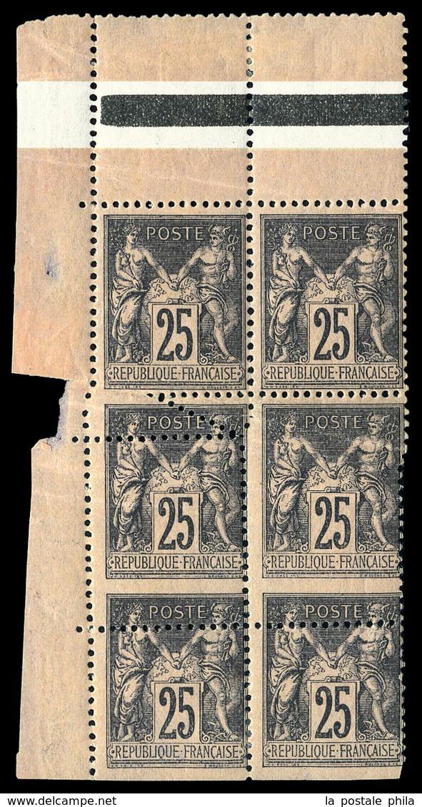 ** N°97, 25c Noir Sur Rose, Spectaculaire Variété De Piquage Sur Bloc De 6 (piquage Oblique Et Décalé) Cdf. SUPERBE. R.  - 1876-1878 Sage (Type I)