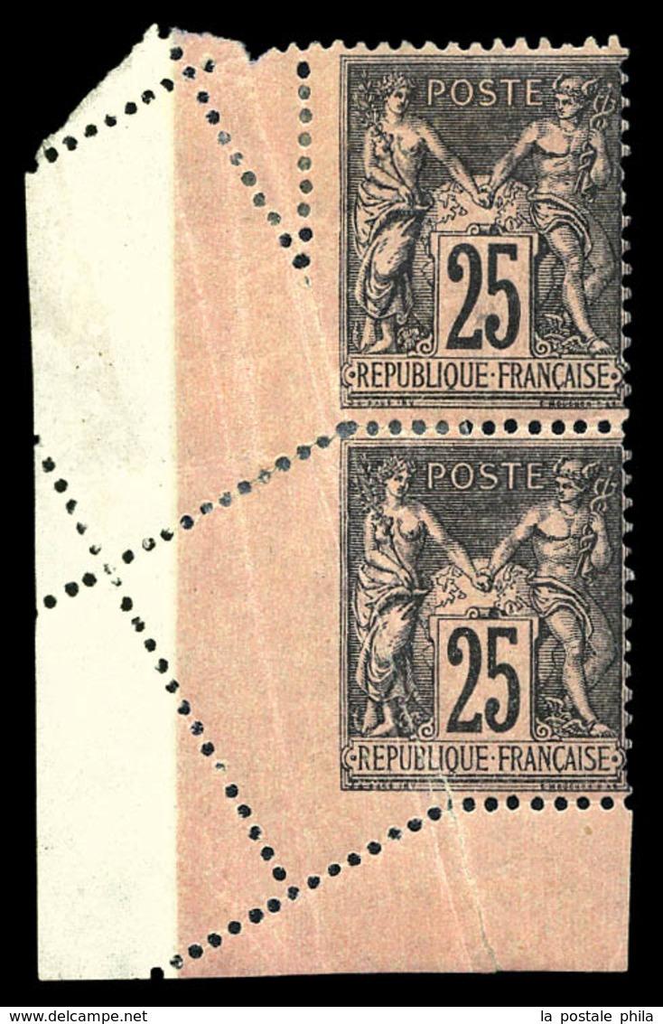* N°97, 25c Sage, Piquage Oblique Par Pliage En Paire Cdf. SUP (certificat)  Qualité: *  Cote: 600 Euros - 1876-1878 Sage (Type I)
