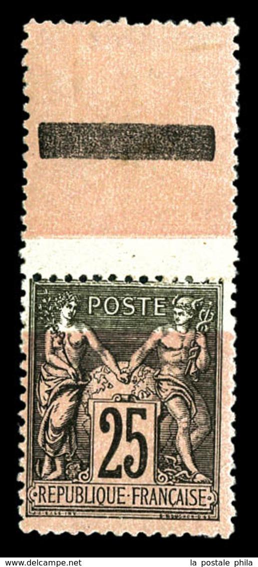 * N°97, 25c Noir Sur Rose, Impression De La Teinte De Fond Partielle, Bdf. TTB  Qualité: * - 1876-1878 Sage (Type I)