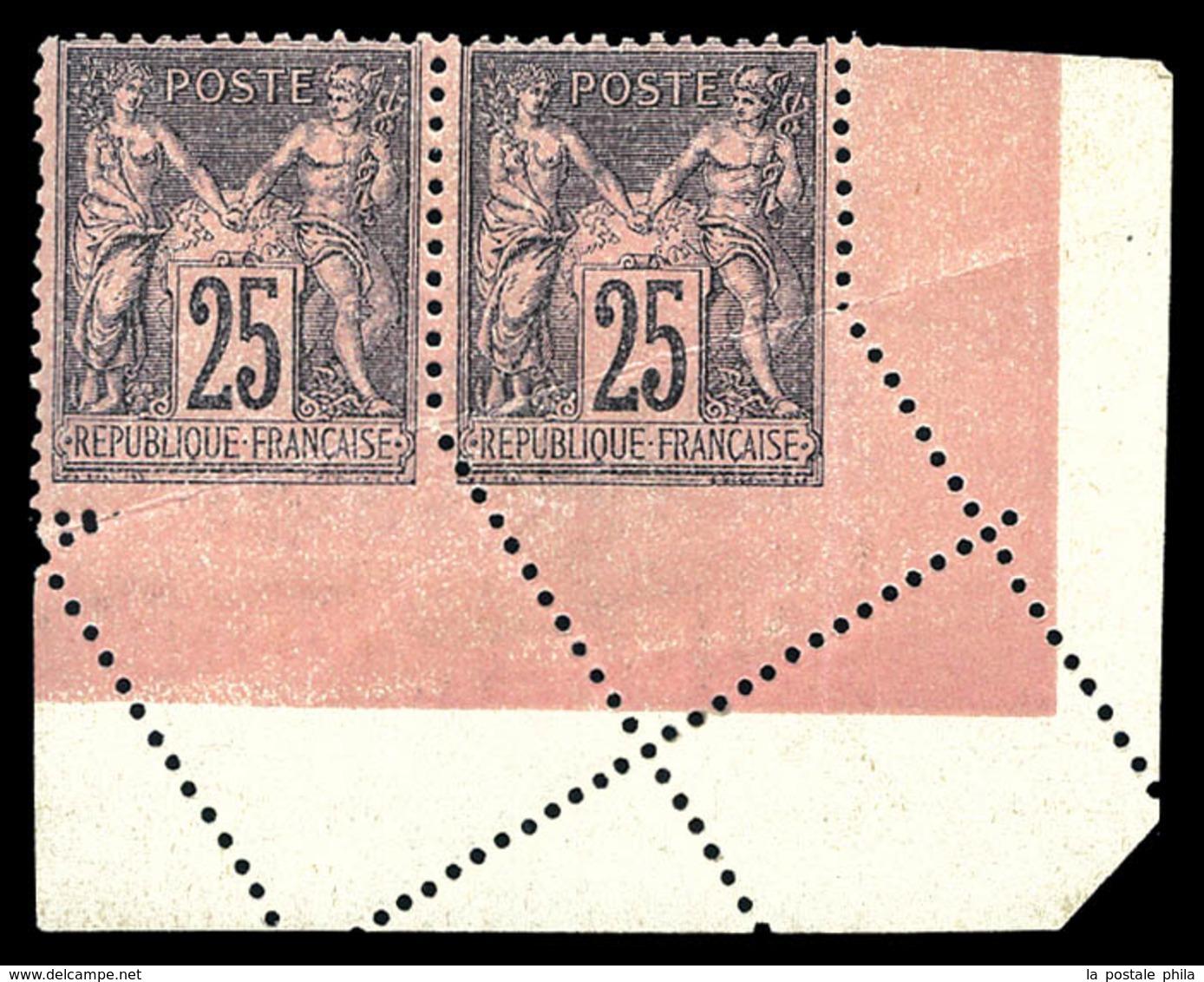 ** N°97h, 25c Noir Sur Rose, Piquage Oblique Par Pliage En Paire Cdf. SUP (certificat)  Qualité: ** - 1876-1878 Sage (Type I)
