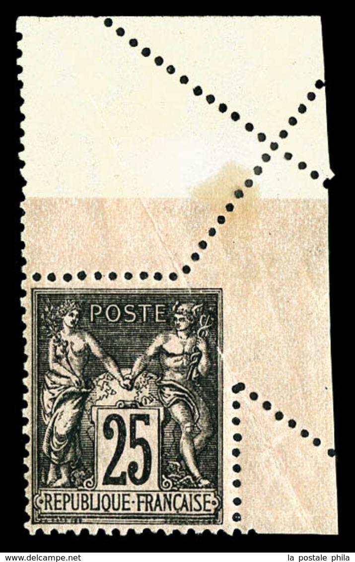 * N°97h, 25c Noir Sur Rose, Piquage Oblique Par Pliage Cdf. TB  Qualité: *  Cote: 300 Euros - 1876-1878 Sage (Type I)
