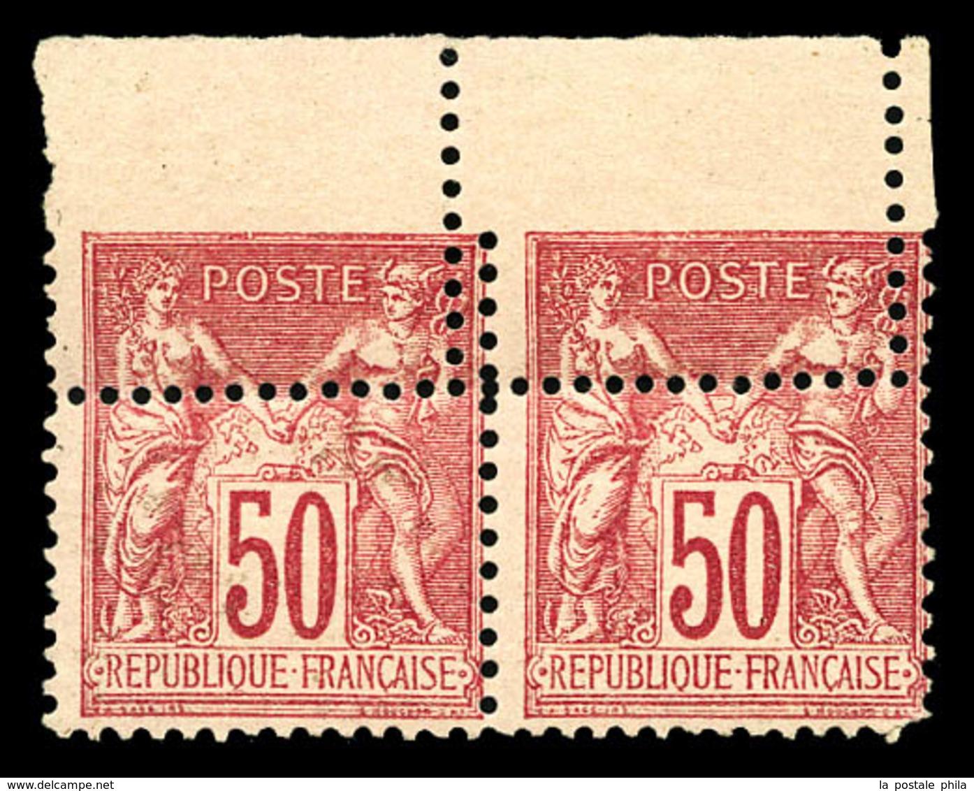 ** N°98, 50c Rose Type II, Piquage Déplacé Et Partiellement Doublé Sur Paire Haut De Feuille. SUP. R. (signée Champion/C - 1876-1878 Sage (Type I)