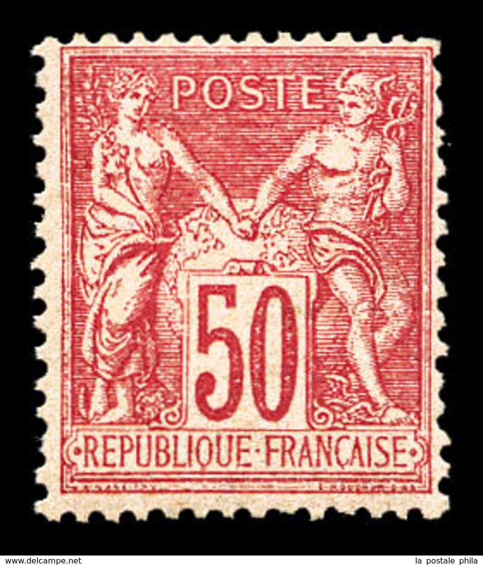 ** N°98, 50c Rose Type II, Fraîcheur Postale. SUP (signé Brun/certificat)  Qualité: ** - 1876-1878 Sage (Type I)