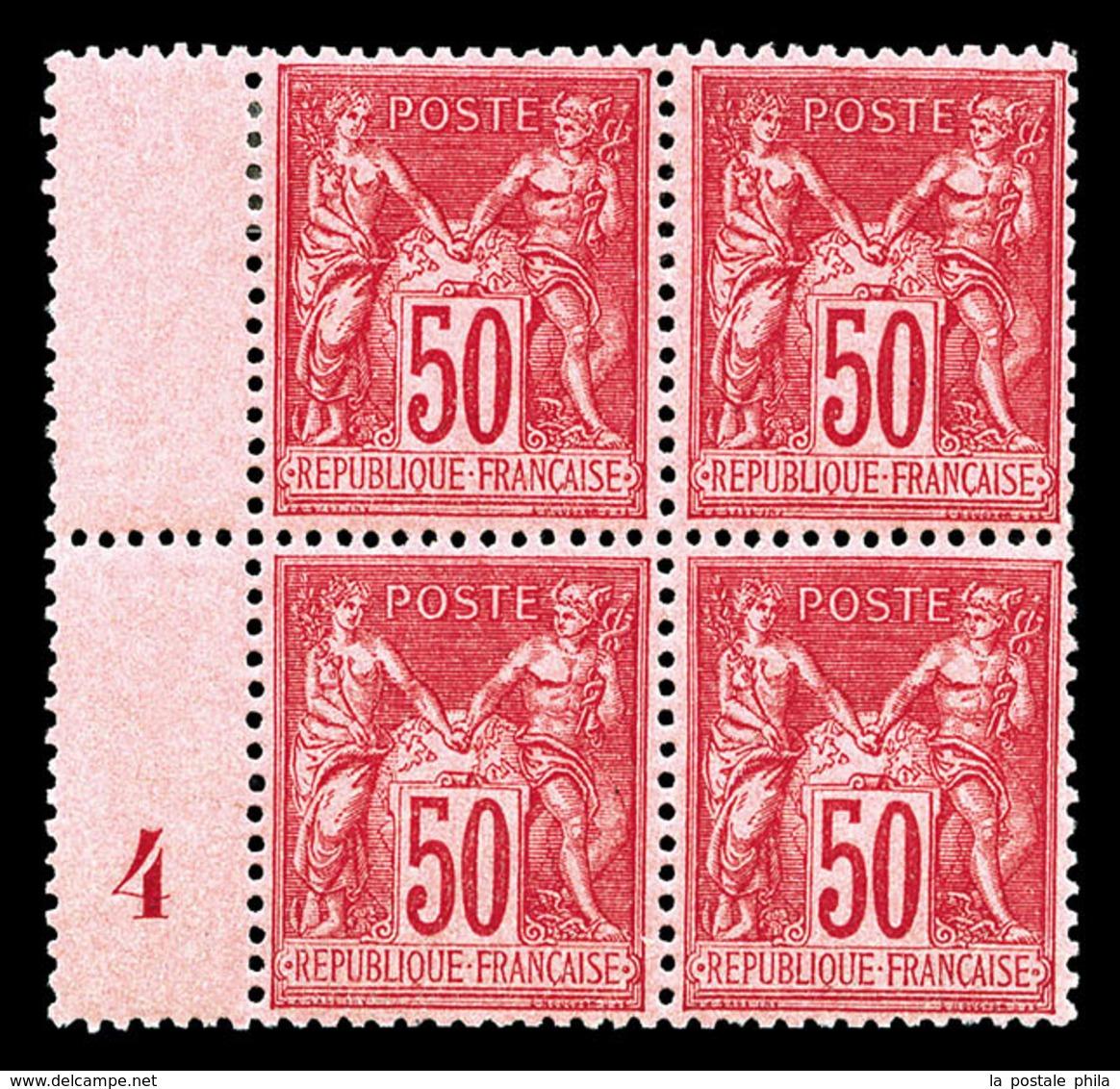 ** N°98c, 50c Rose Vif Type II En Bloc De Quatre (2ex*) Millésime 4, Fraîcheur Postale, Très Bon Centrage, Superbe (cert - 1876-1878 Sage (Type I)