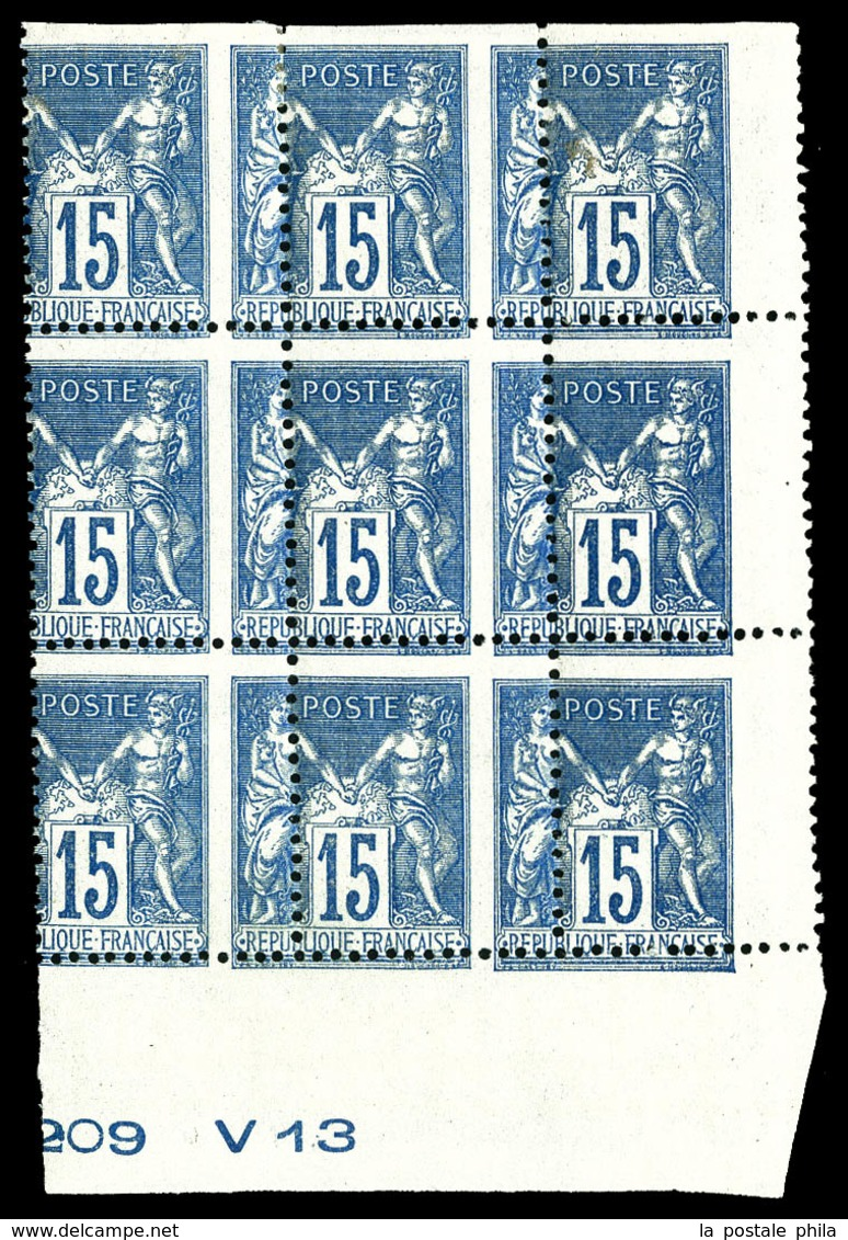 ** N°101, 15c Bleu Type II, Exceptionnelle Variété De Perforation En Bloc De 9 Exemplaires (3ex*), Bas De Feuille Avec N - 1876-1878 Sage (Type I)