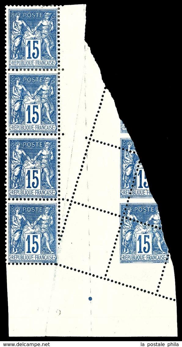 ** N°101, 15c Sage, Piquage Oblique Par Pliage Sur Bloc De 6 Exemplaires. SUP (certificat)  Qualité: ** - 1876-1878 Sage (Type I)