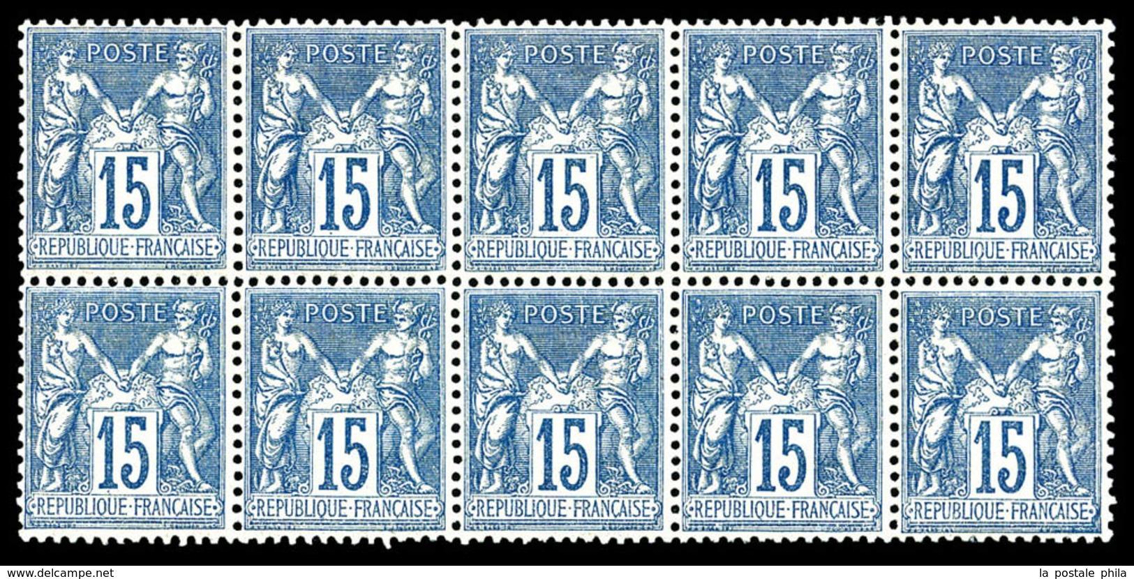 ** N°101, 15c Bleu, Bloc De 10 Exemplaires, Fraîcheur Postale, Très Bon Centrage. SUP (certificat)  Qualité: ** - 1876-1878 Sage (Type I)