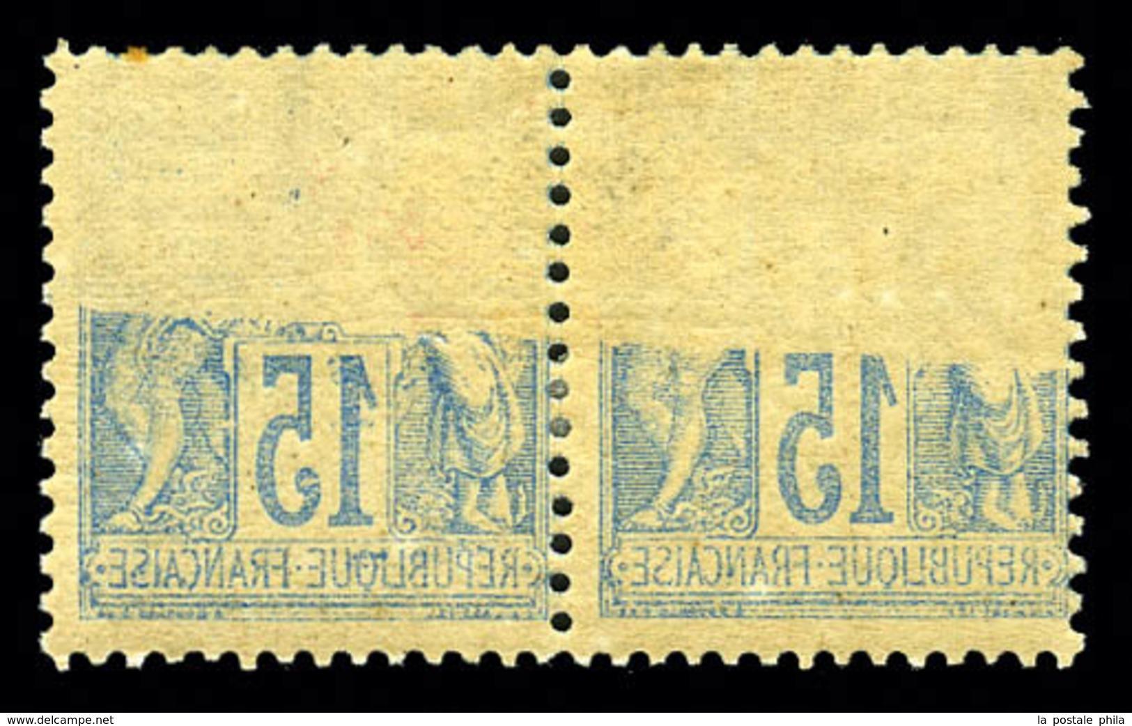 ** N°101, 15c Sage, Impression Recto-verso En Paire. TB  Qualité: **  Cote: 160 Euros - 1876-1878 Sage (Type I)