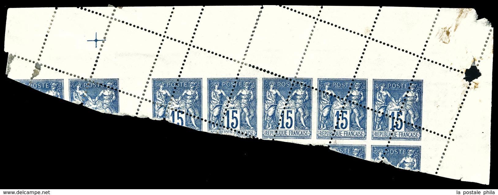 * N°101, 15c Sage, Piquage Oblique Par Pliage Sur Bloc De 7 Exemplaires Cdf. SUP (certificat)  Qualité: * - 1876-1878 Sage (Type I)