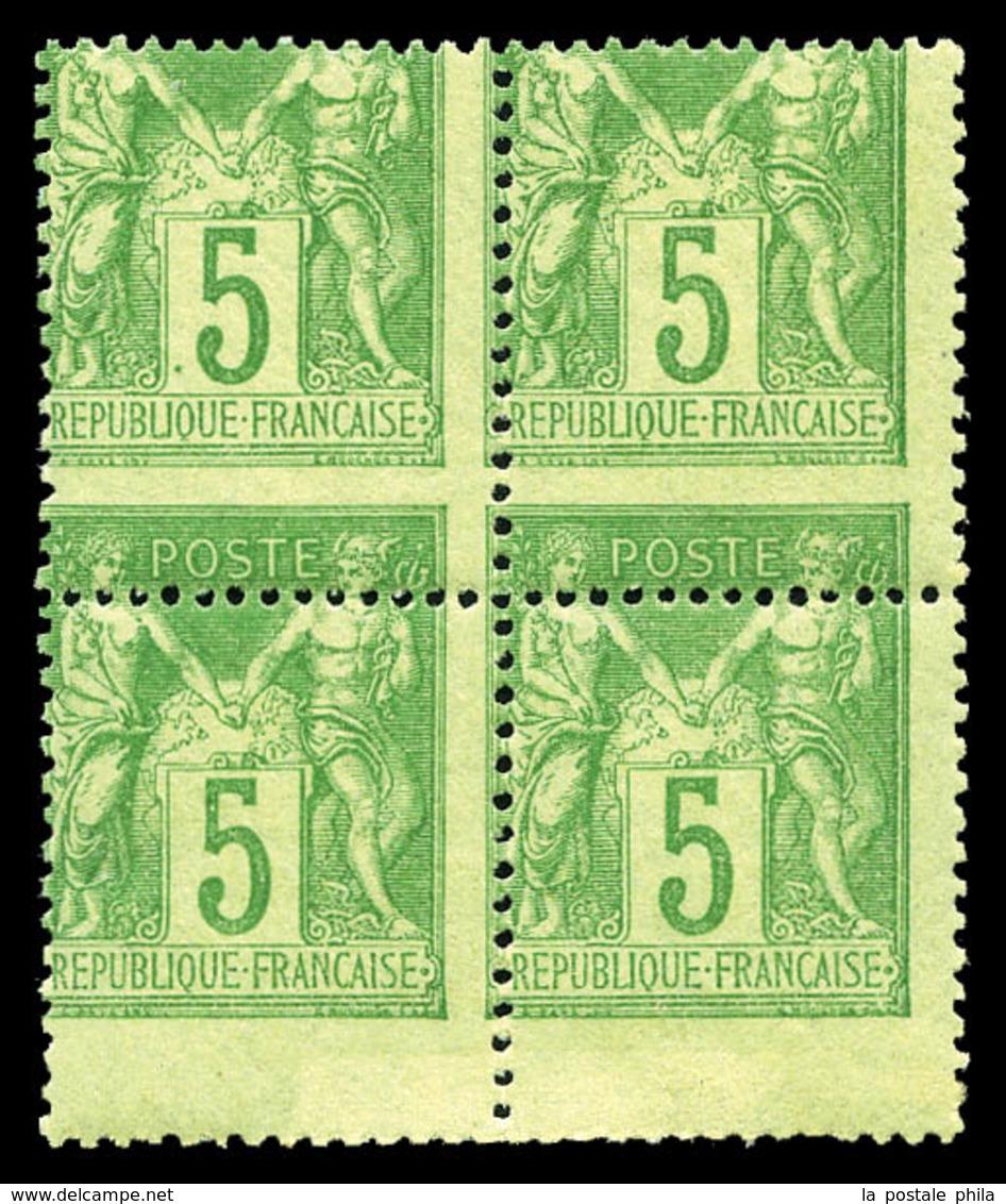** N°102, 5c Vert-jaune Type I, Piquage à Cheval Sur Bloc De Quatre. TTB (certificat)  Qualité: ** - 1876-1878 Sage (Type I)