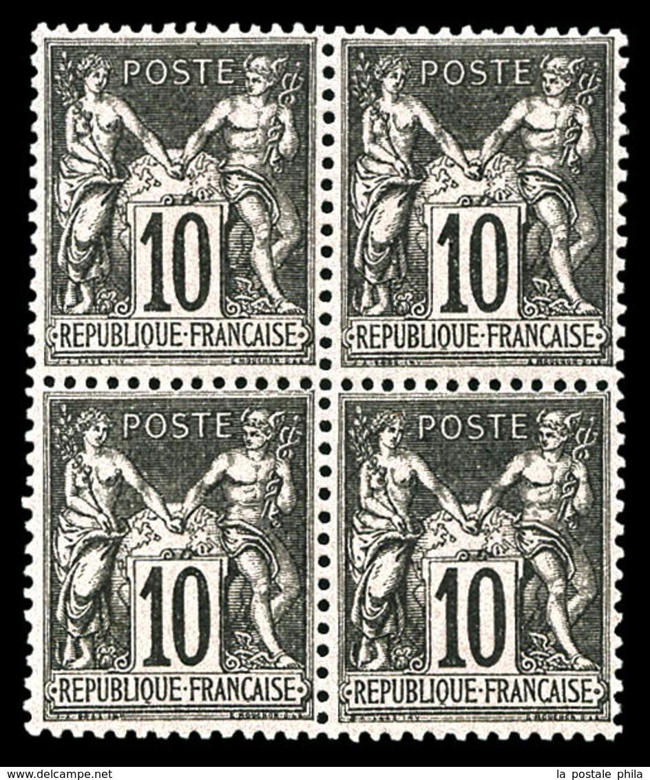 ** N°103, 10c Noir Sur Lilas Type I En Bloc De Quatre. TTB  Qualité: ** - 1876-1878 Sage (Type I)