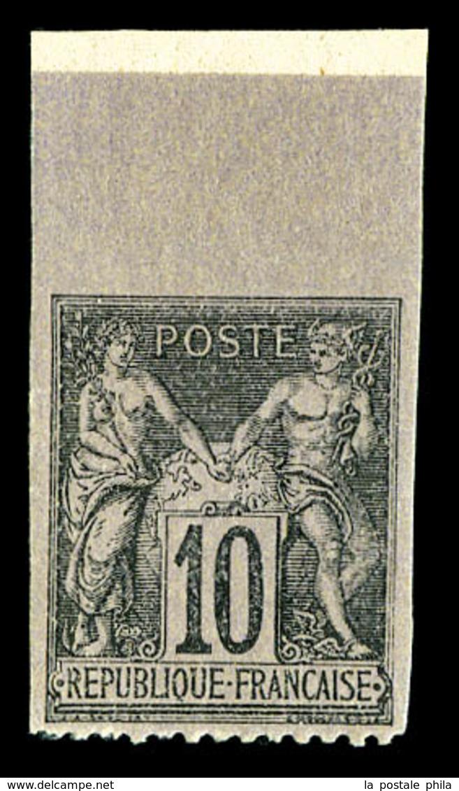 ** N°103f, 10c Noir Sur Lilas Dentelé Sur 3 Coté, Bdf. TTB  Qualité: **  Cote: 250 Euros - 1876-1878 Sage (Type I)