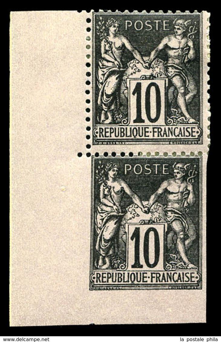 * N°103g, 10c Sage, Dentelé Tenant à Non Dentelé En Paire Cdf. TTB  Qualité: *  Cote: 275 Euros - 1876-1878 Sage (Type I)