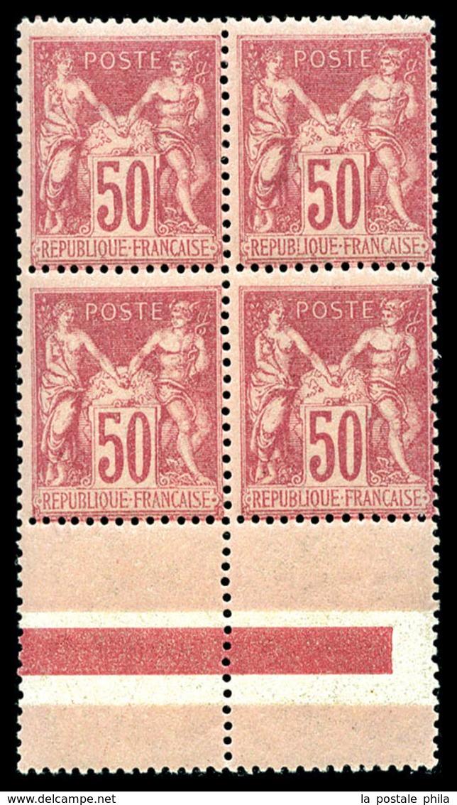 ** N°104, 50c Rose Type I En Bloc De Quatre Bord De Feuille, FRAÎCHEUR POSTALE, SUP (signé Brun/certificat)   Qualité: * - 1876-1878 Sage (Type I)