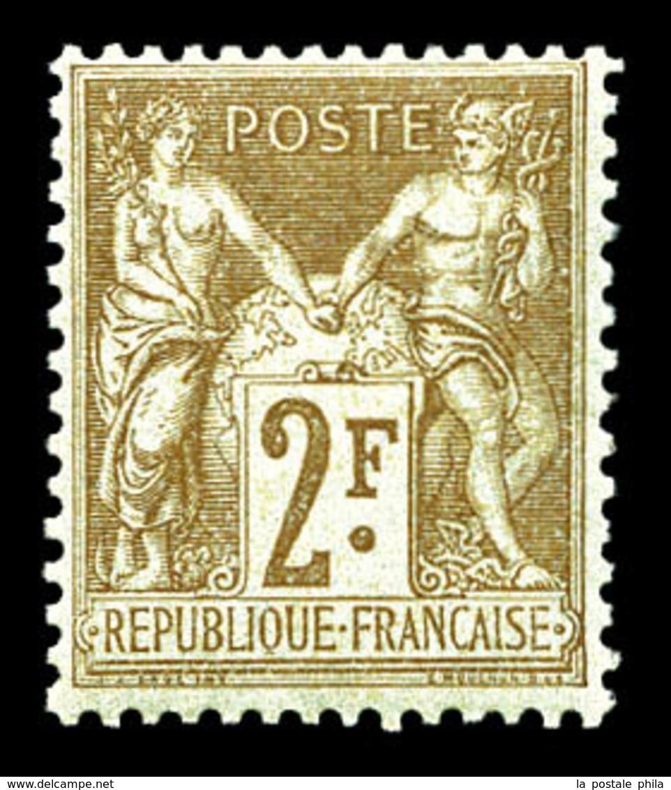 ** N°105, 2F Bistre Sur Azuré, Fraîcheur Postale, TTB (certificat)  Qualité: ** - 1876-1878 Sage (Type I)