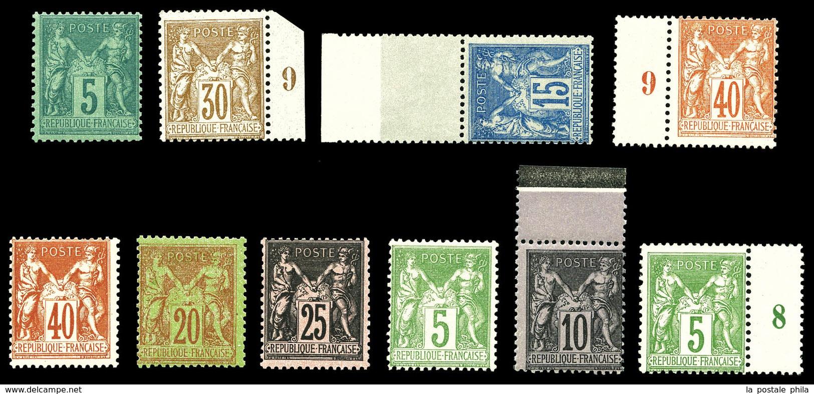 ** N°75, 80, 90, 94, 94a, 96, 97a, 102, 103 Et 106, Les 10 Valeurs TTB  Qualité: ** - 1876-1878 Sage (Type I)