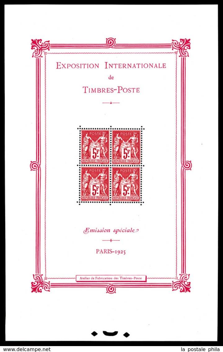 ** N°1, Exposition Philatélique De Paris 1925, FRAICHEUR POSTALE, SUPERBE. R. (certificat)  Qualité: **  Cote: 5500 Euro - Sheetlets