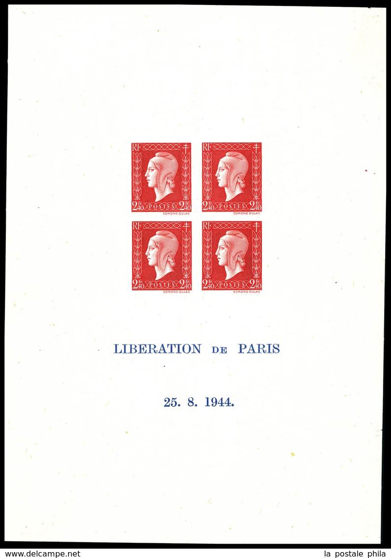 (*) N°4a, Bloc Feuillet De La Liberation De Paris: Dulac, Inscription Sur 2 Lignes Seulement Et Sans Encadrement Bleu, D - Sheetlets