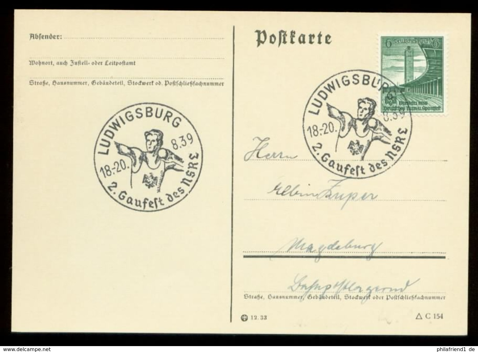 P0796 - DR Postkarte: Gebraucht Mit Sport Kugelstossen Gaufest Sonderstempel Ludwigsburg 1939 - Germany