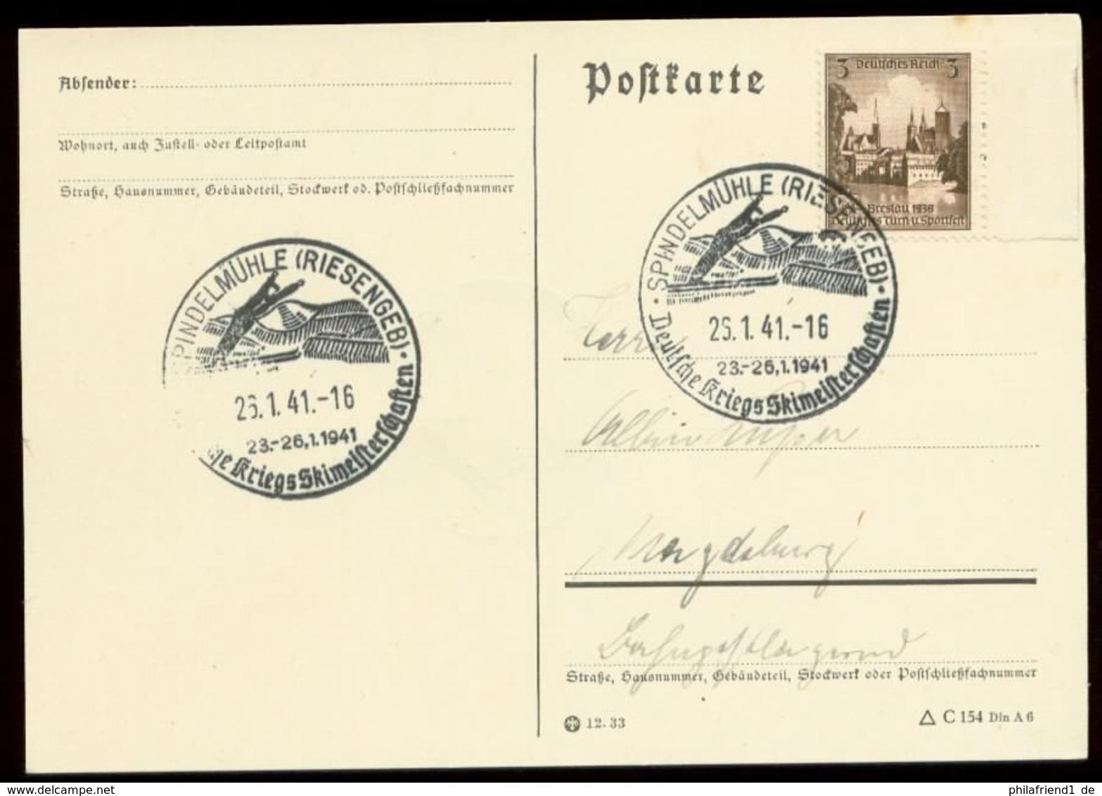 P0794 - DR Postkarte: Gebraucht Mit Sport Skispringen Sonderstempel Spindelmühle Riesengebirge 1941 - Deutschland