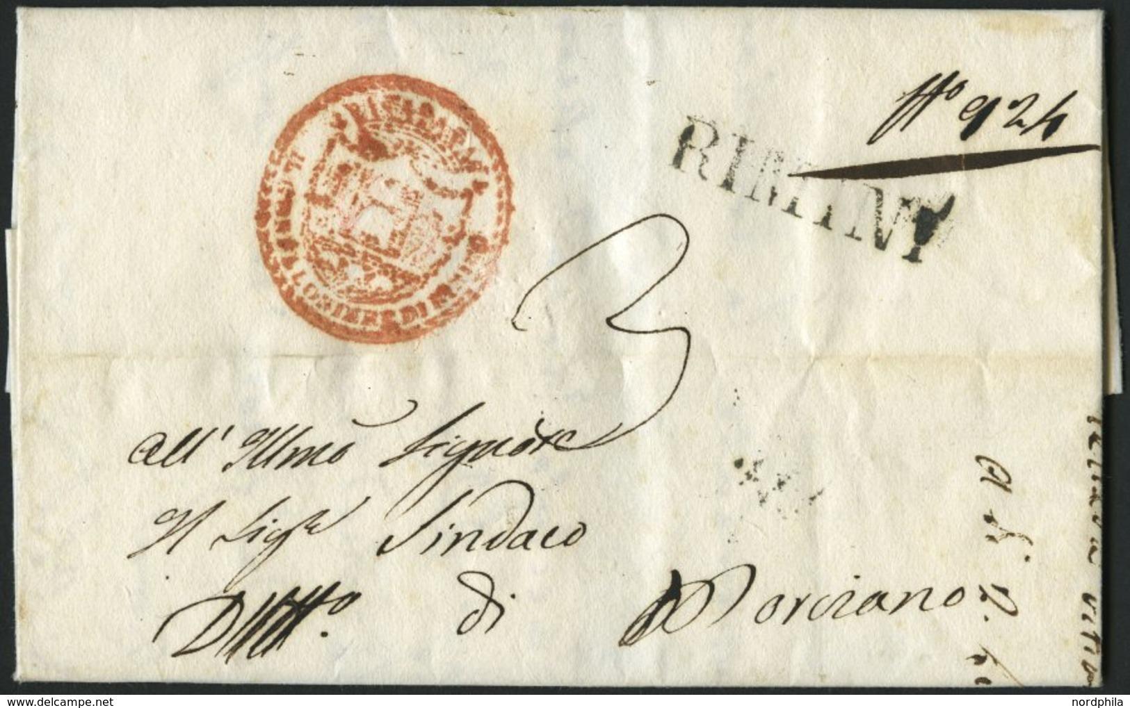 VORPHILA 1829, RIMINI, L1, Rückseitiger L2 28 GIVGNO, Dazu Dekorativer Roter Absenderstempel, Pracht - Italien