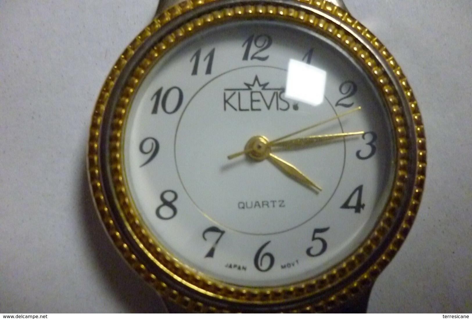 OROLOGIO POLSO VINTAGE KLEVIS QUARTZ JAPAN 18K GOLD PLATED FERMO DA TEMPO - Orologi Da Polso