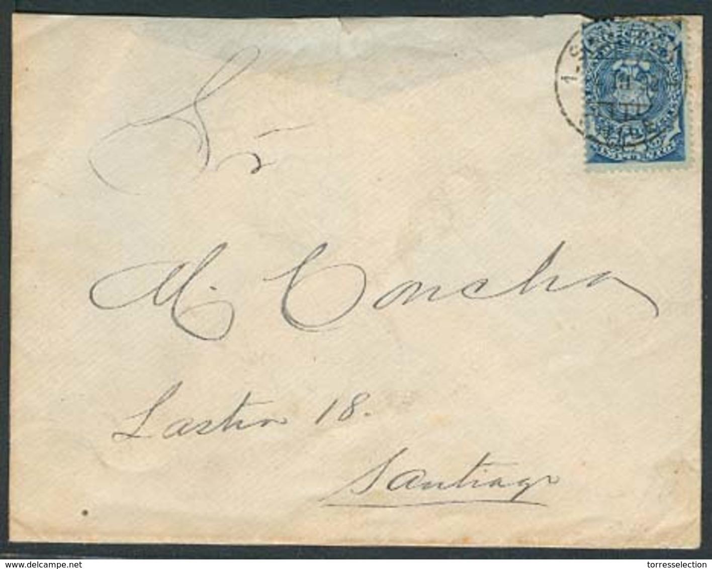 CHILE. 1892 (4 Marzo). Santiago Local Usage. Provisional Period / Postage Stamps Shortage / 5c Blue Impuesto Cds. Local - Chile