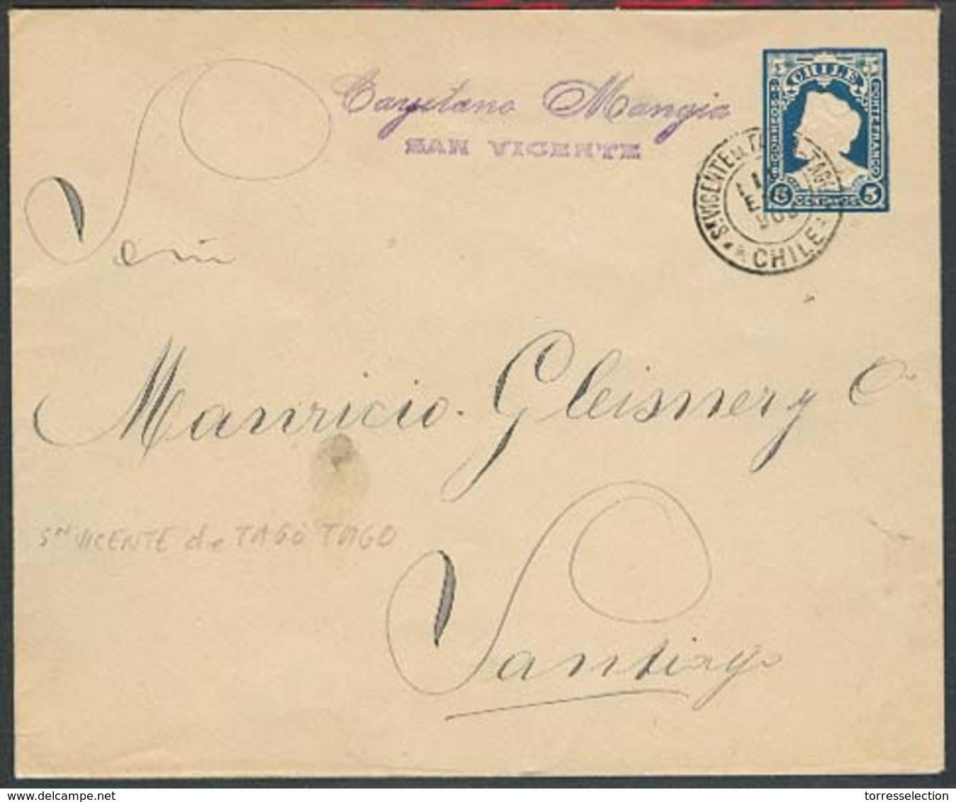 CHILE - Stationery. 1903. San Vicente De Tago Tago - Stgo 5c Squared Type Stat Env. Unusual Town Usage + Scarce Size. VF - Chile