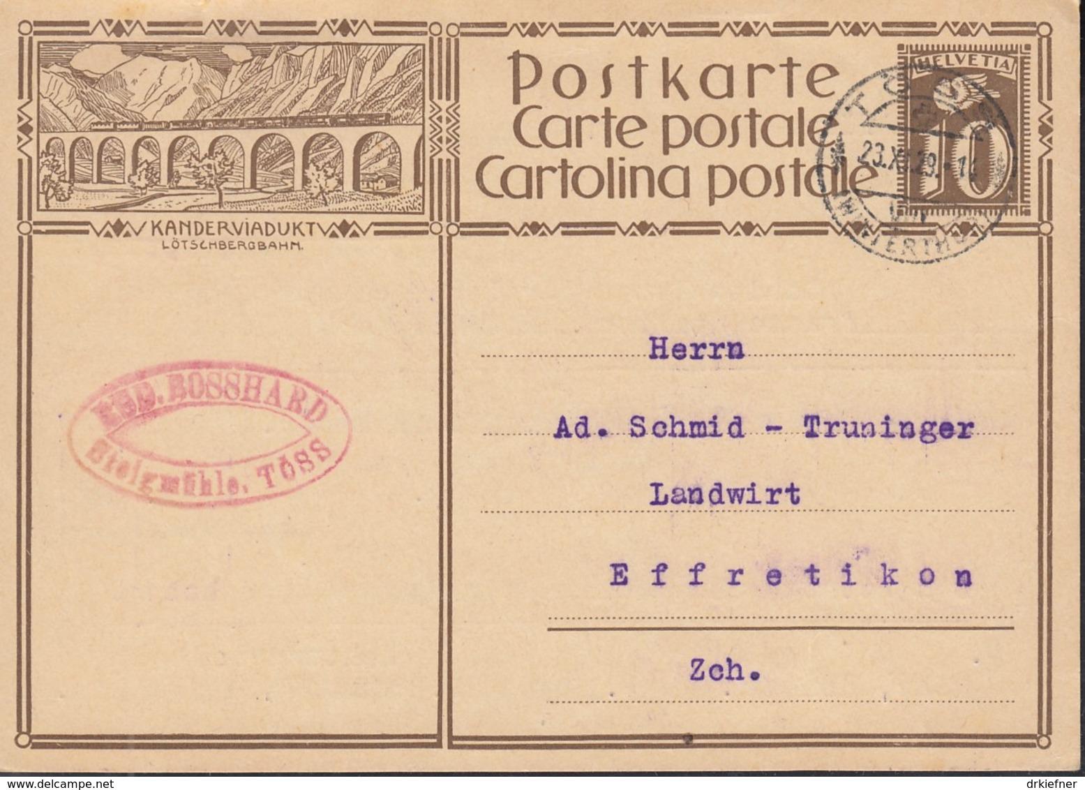 SCHWEIZ  Mi. P 132 I / ZNr.119.7, Bildpostkarte: KANDERVIADUKT LÖTSCHBERGBAHN, Gestempelt: Töss 23.XI.1929 - Ganzsachen