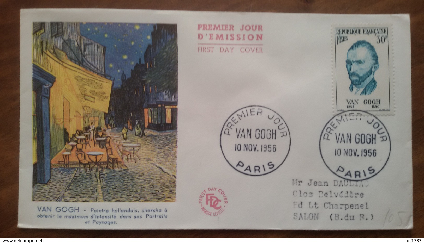 Premier Jour  FDC..  VAN GOGH .. 1956 .. PARIS - FDC