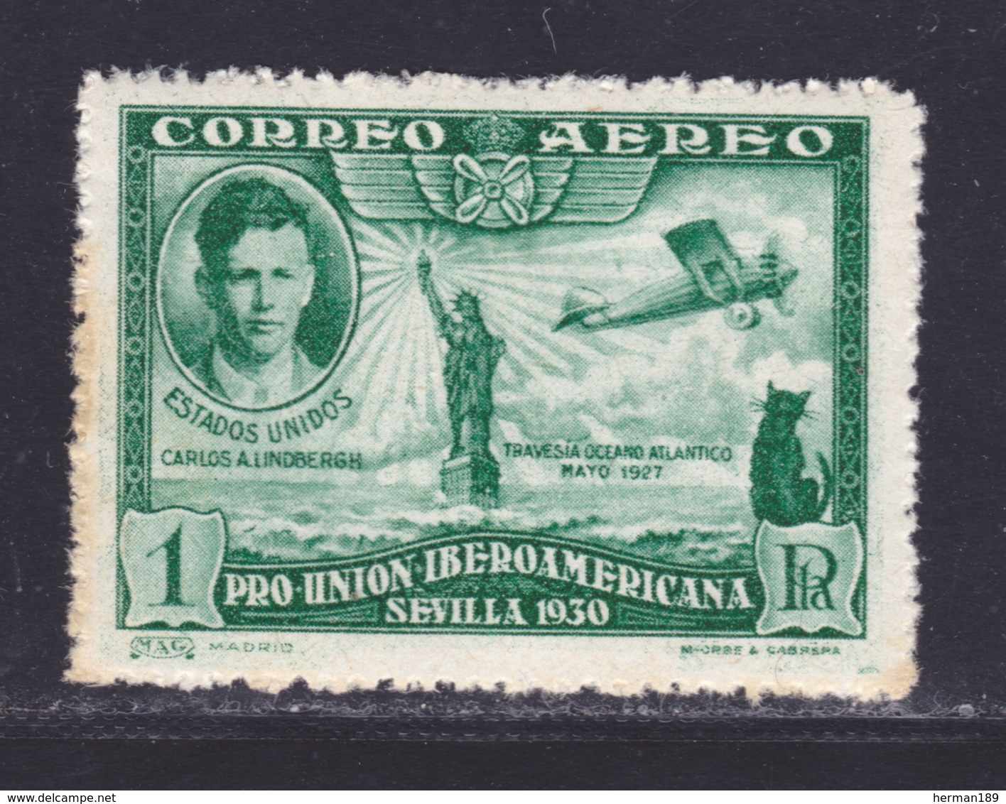 ESPAGNE AERIENS N°   80 ** MNH Neuf Sans Charnière, Rousseurs (L1239) Clôture De L'Exposition De Séville - 1930 - Luftpost
