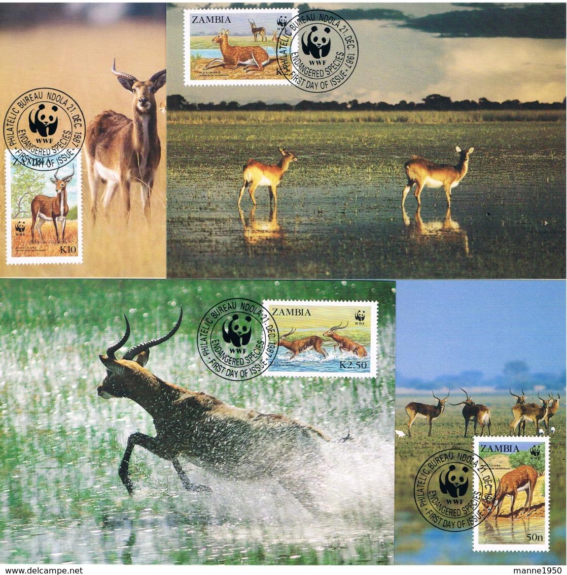 Zambia 1987 Tiere Mi.Nr. 438/41 Kpl. Satz Gest. Auf Maximumkarten - Zambia (1965-...)