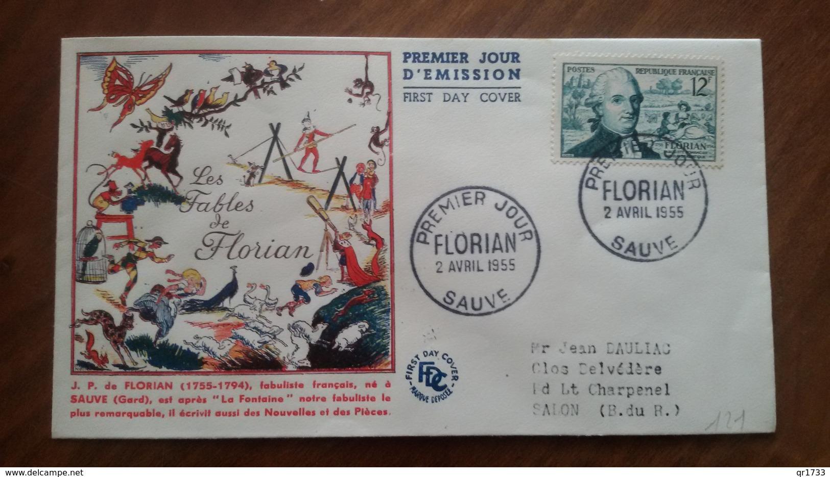 Premier Jour  FDC..  FLORIAN .. 1955 ..   Les  Fables De La Fontaine .. SAUVE - Other