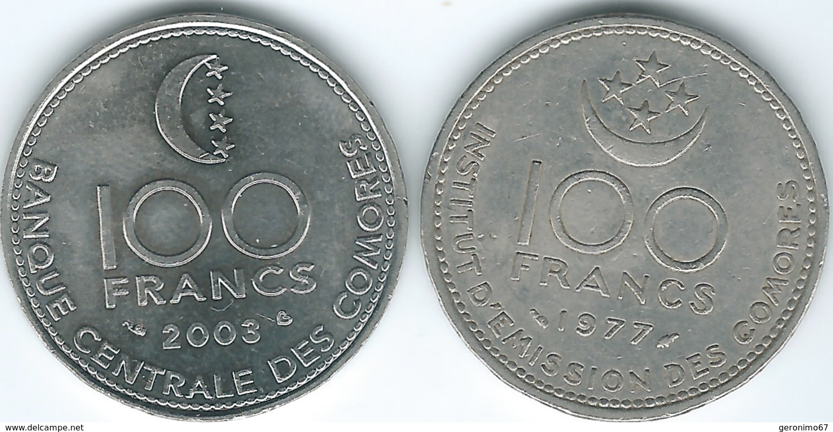 Comoros - 1977 - 100 Francs (KM13) & 2003 (KM18) - Comoros