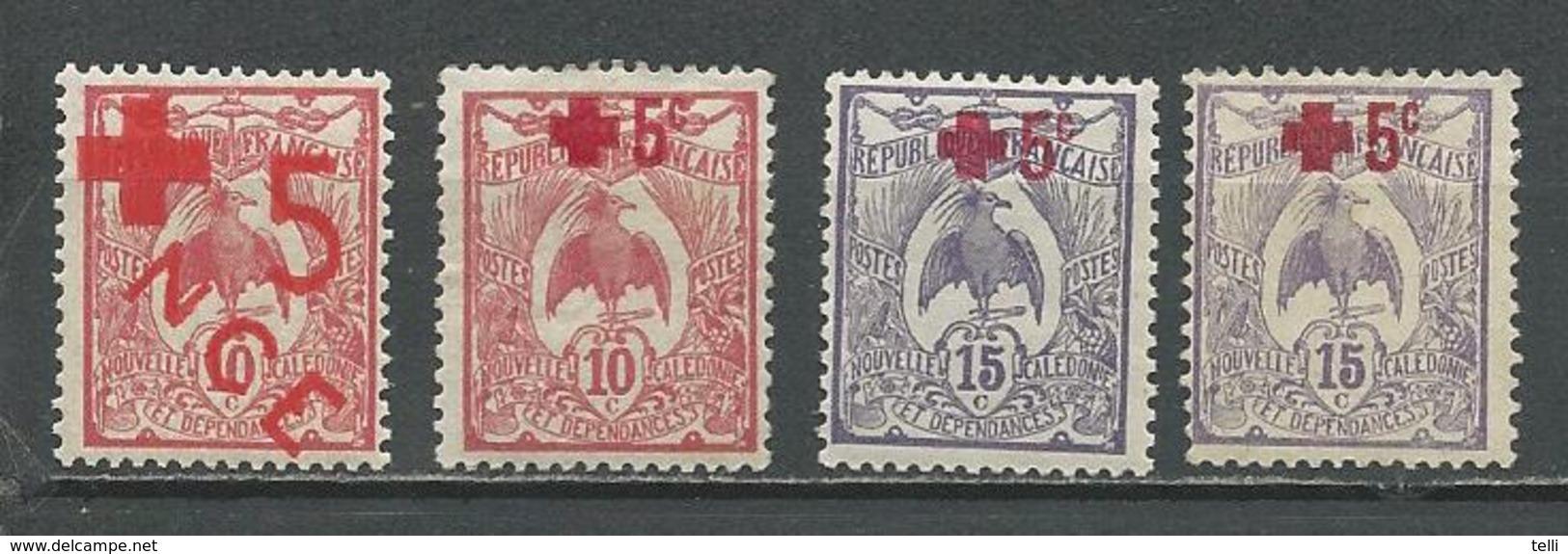 NLLE CALÉDONIE Scott B1, B2, B3 Yvert 110, 111, 112x2 (4) **, *, **, * Cote 3,90 $ 1915-17 - Nouvelle-Calédonie