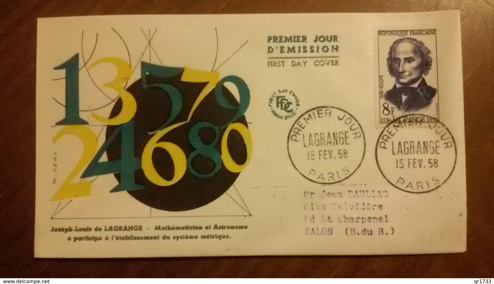Premier Jour  FDC..   LAGRANGE . 1958 ..  Mathematicien - FDC