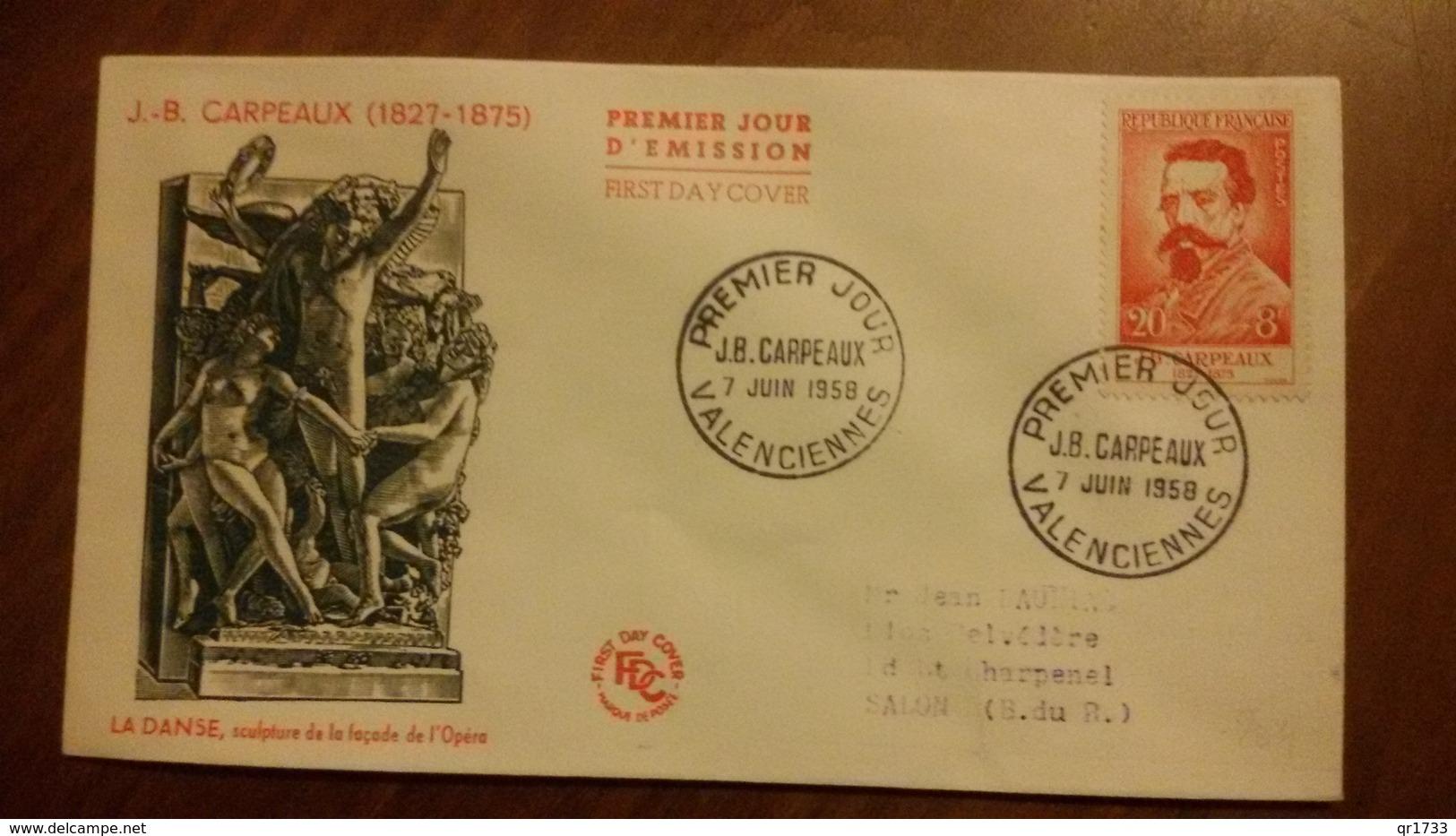 Premier Jour  FDC..   J. B.  CARPEAUX .. 1958 .. VALENCIENNES - FDC
