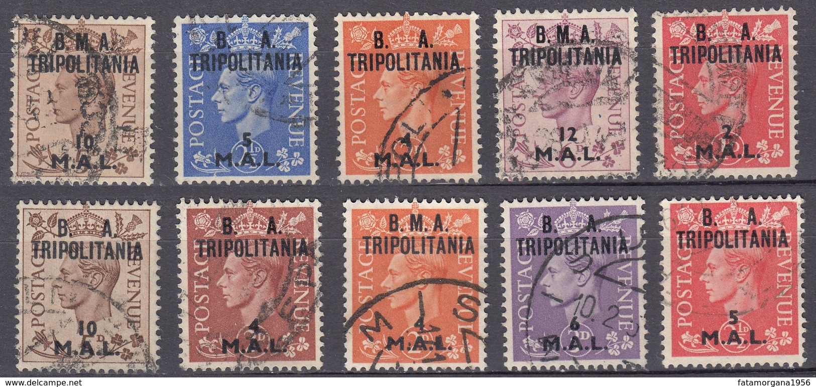 TRIPOLITANIA - OCCUPAZIONE Civile E Militare Britannica - Lotto Di 10 Valori Diversi  Assortiti, Come Da Immagine. - Zuidwest-Afrika (1923-1990)