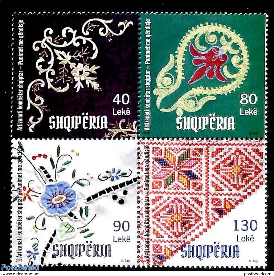 Albania 2018 Embroidery 4v [+], (Mint NH), Textiles - Textile
