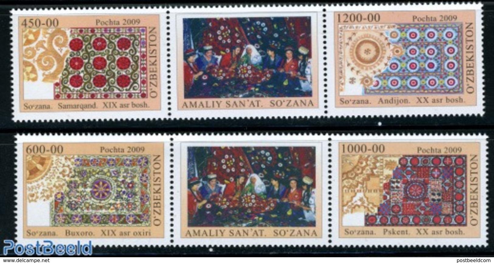 Uzbekistan 2009 SoZana Carpet Art 4v (2x [:T:], (Mint NH), Art - Handicrafts - Various - Textiles - Textile
