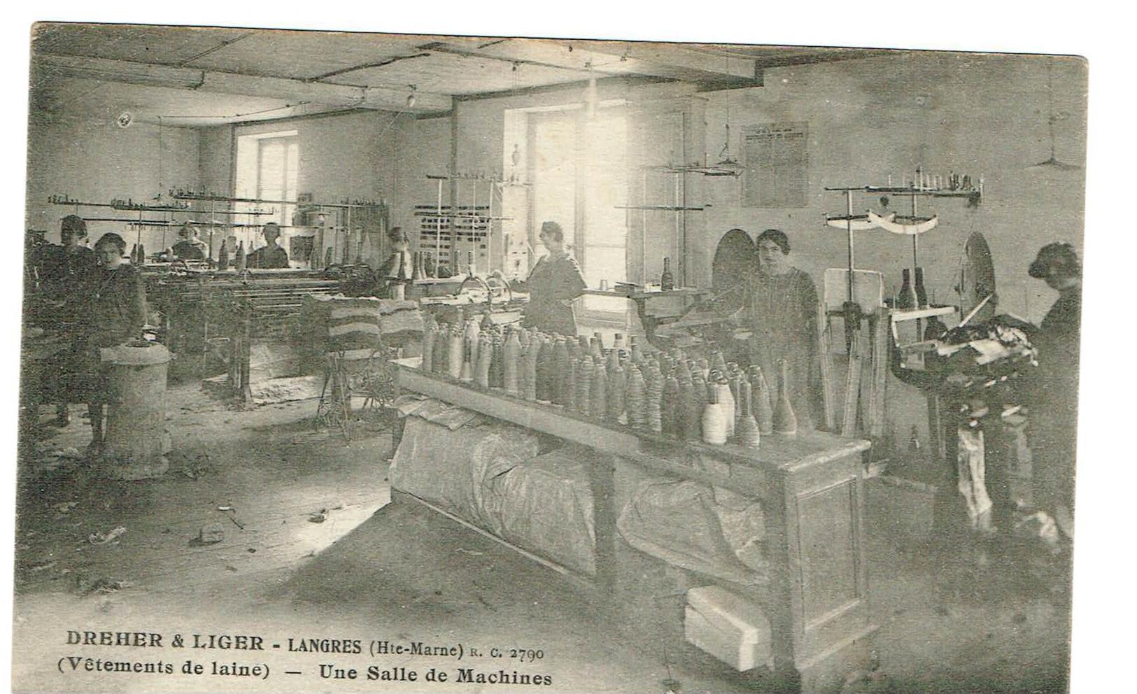 52 Langres - DREHER & LIGER (vetements De Laine) Une Salle De Machines.Animée, Carte Originale, Dos Vert Non Circulée, - Langres