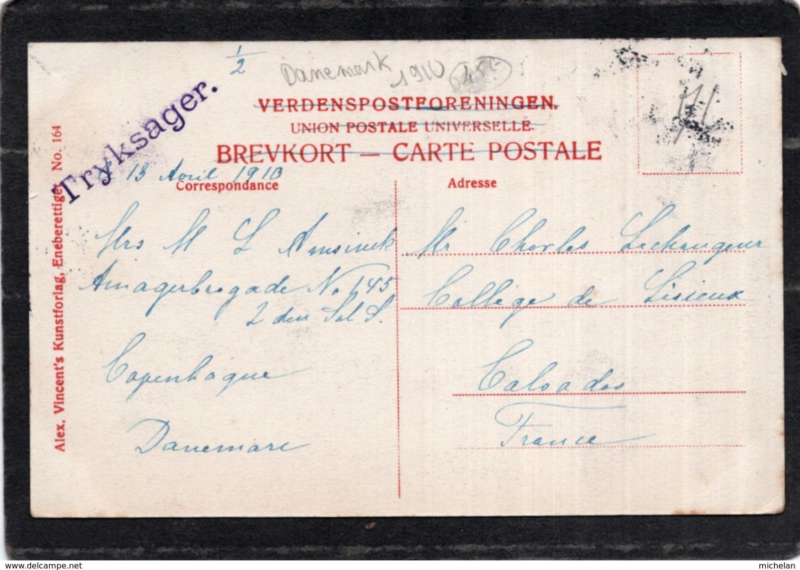 """CPA   DANEMARK---KOBENHAVN---HAVNEN OG PRIVATBANKEN---TAMPON VIOLET """" TRYKSAGER """"---1910 - Danemark"""