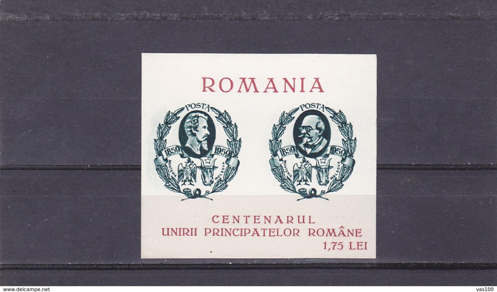 SPAIN - EXILE CENTENARUL UNIRII PRINCIPATELOR ROMANE,1959 BLOCK MNH,ROMANIA. - Emisiones Locales