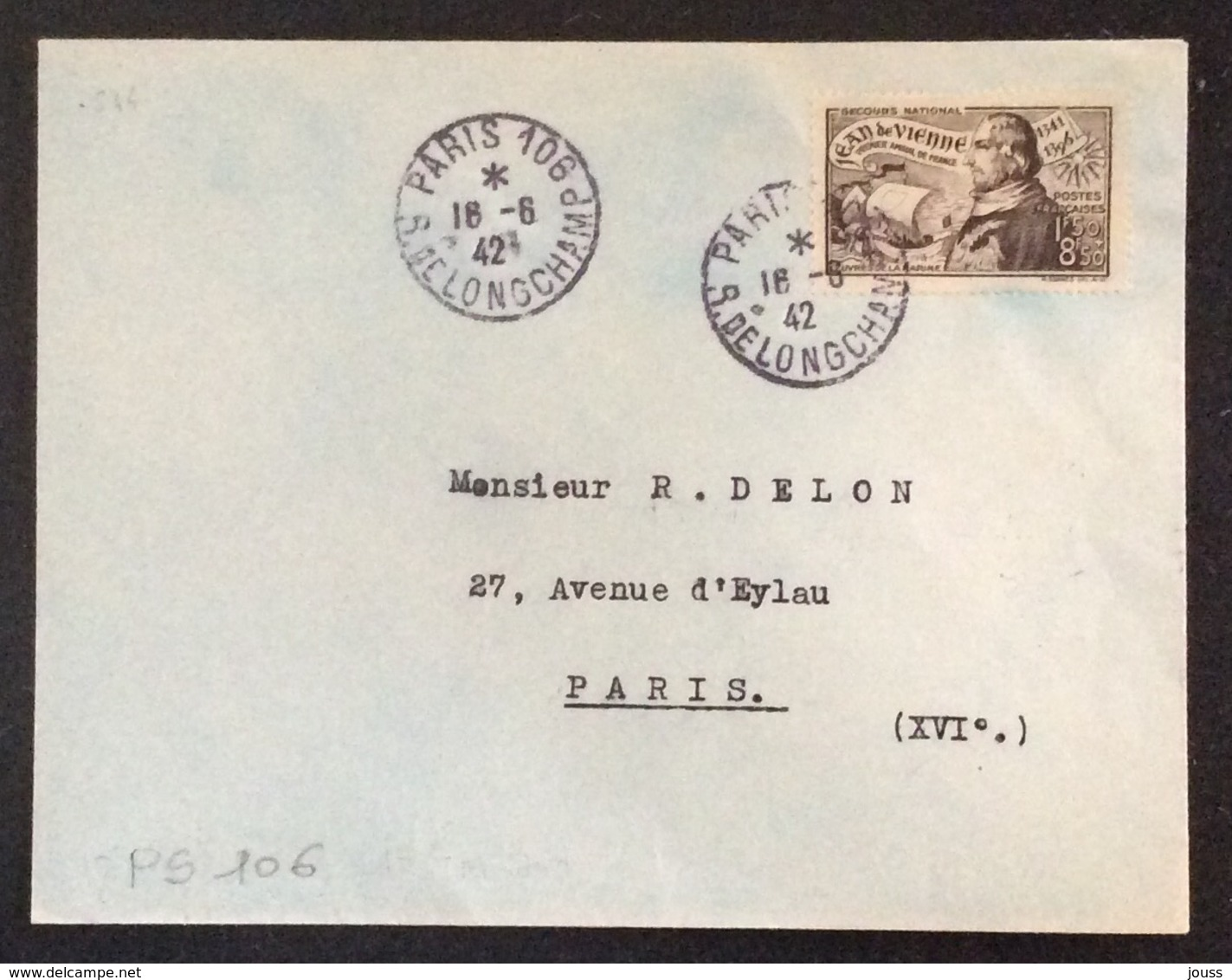 PS106 Jean De Vienne 544 Premier Jour 16/6/1942 Paris 106 R.de Longchamp Secours National Oeuvres De La Marine - 1921-1960: Modern Period