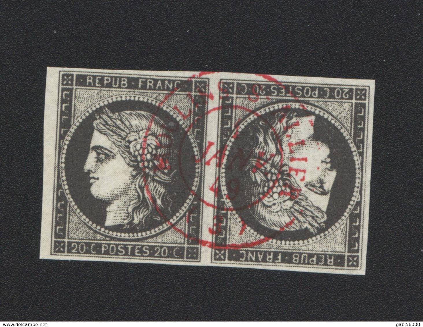 Reproduction Tête-bêche N° 3d 20 C Cérès Oblitération 1 Er Jour En Rouge - 1849-1850 Ceres