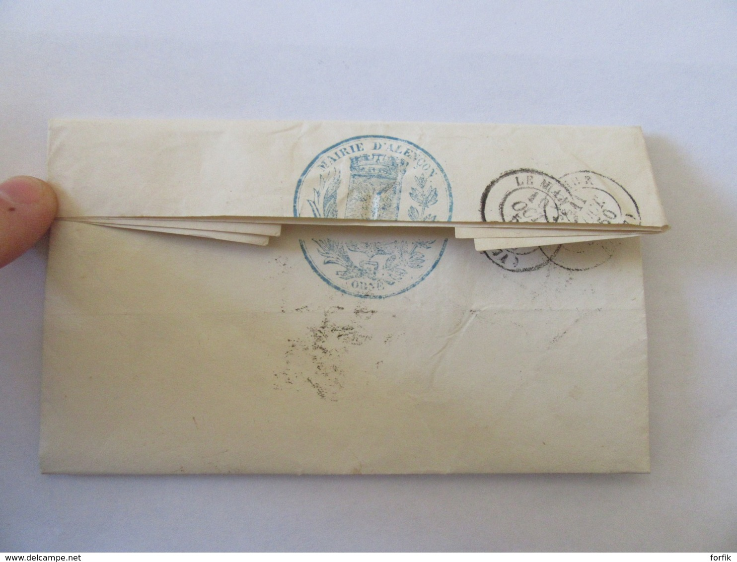 Lettre Du Maire D'Alençon Vers Celui De Saumur - Chiffre Taxe 25 + Cachet Bleu Mairie D'Alençon - 1850 - Postmark Collection (Covers)