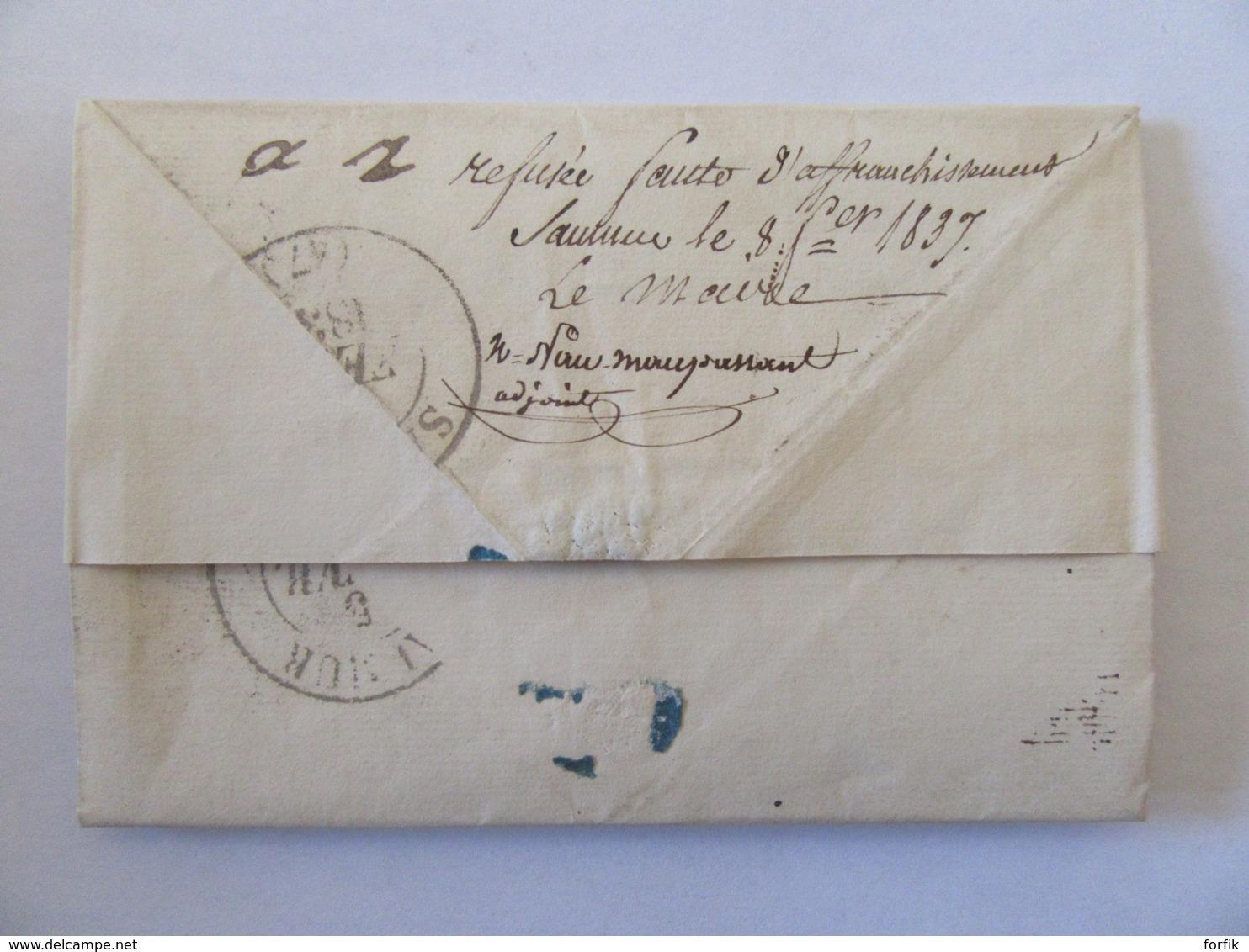 Lettre Refusée Pour Défaut D'affranchissement Par Le Maire De Saumur - Chiffre Taxe Manuscrit + Cachet Type 13 - 1837 - Postmark Collection (Covers)