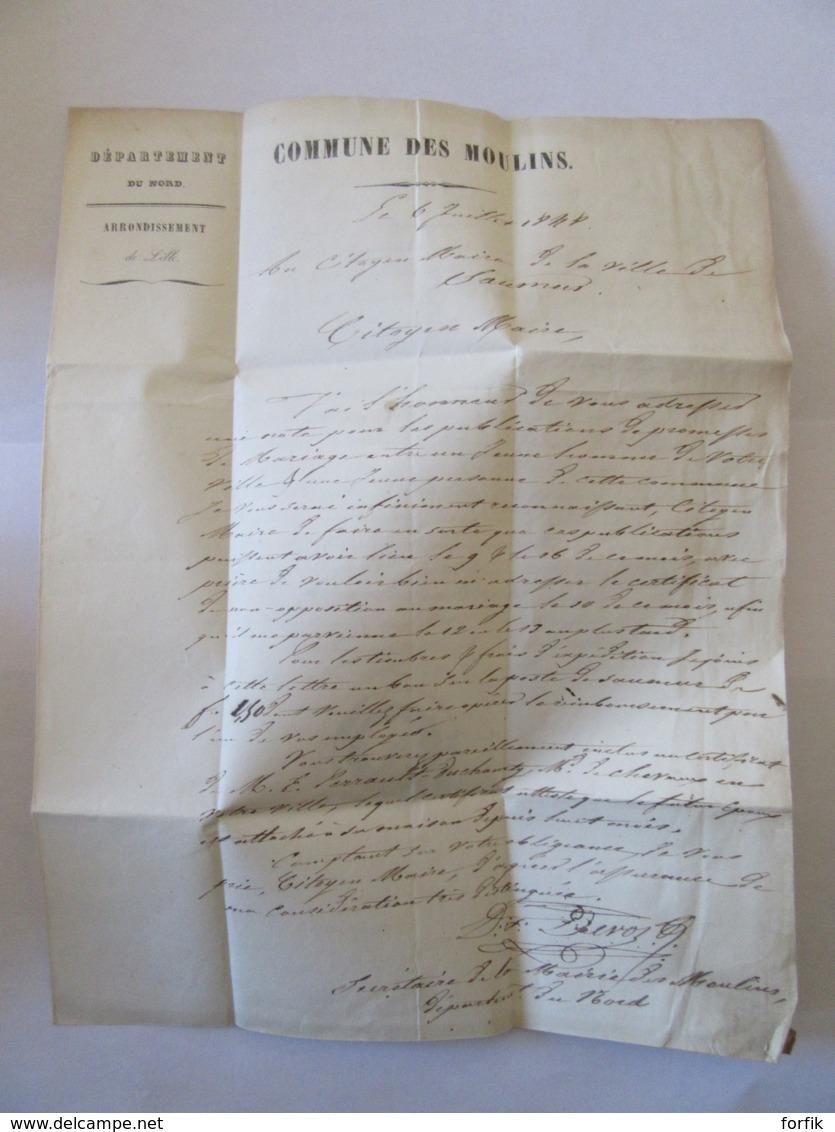 Lettre Les Moulins Vers Saumur - Cachet Rouge Lille + PP Rouge + Mairie Des Moulins + Chiffre-Taxe Manuscrit - 1848 - Marcophilie (Lettres)