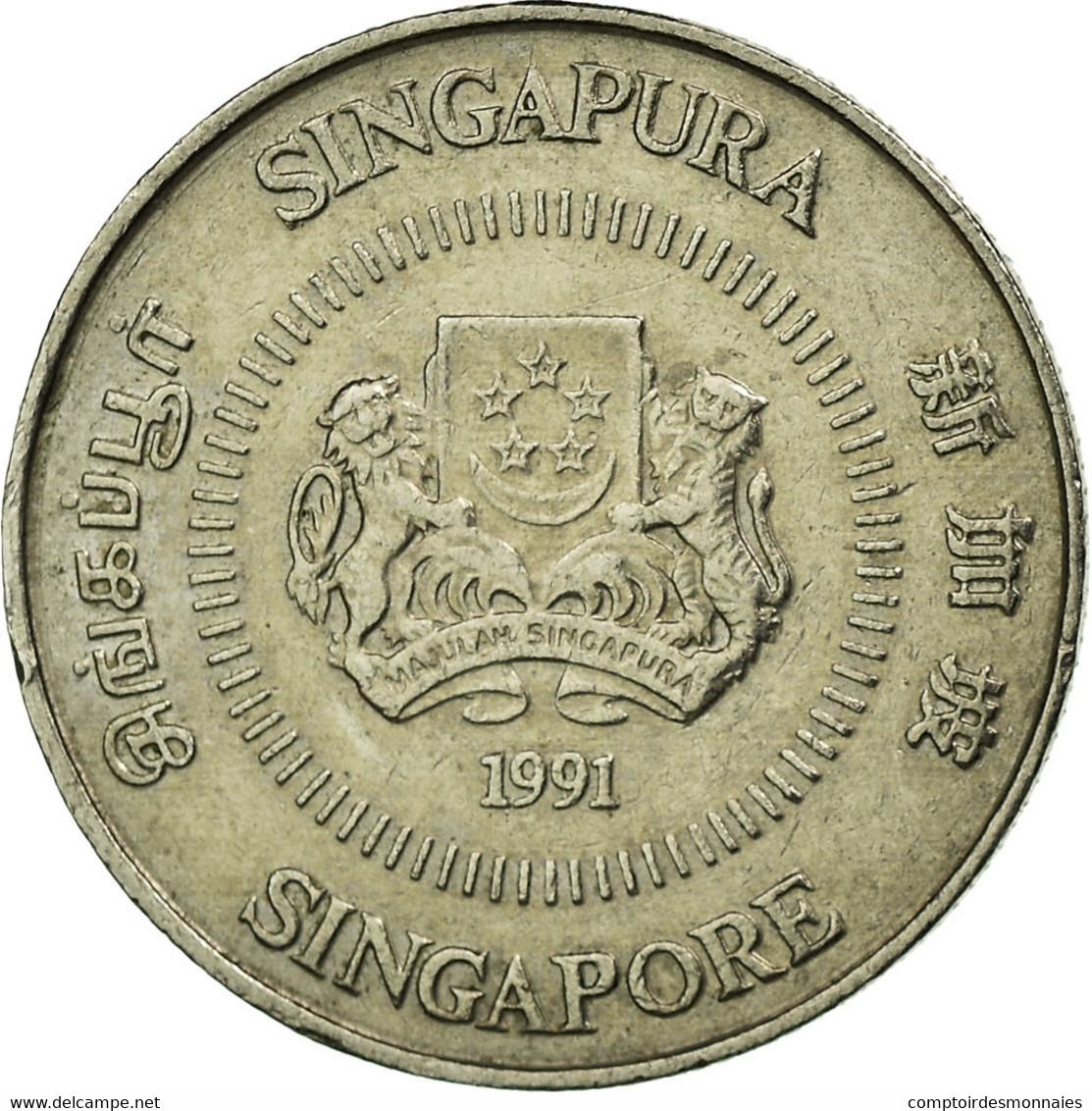 Monnaie, Singapour, 10 Cents, 1991, British Royal Mint, TTB, Copper-nickel - Singapour